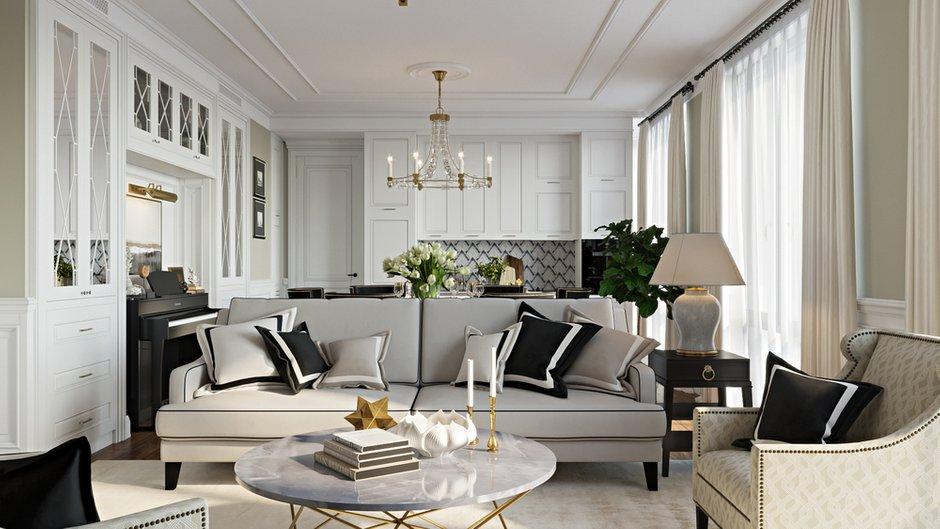 Фотография: Гостиная в стиле Классический, Современный, Квартира, Москва, Монолитный дом, 3 комнаты, Более 90 метров, #эксклюзивныепроекты, True interior – фото на INMYROOM