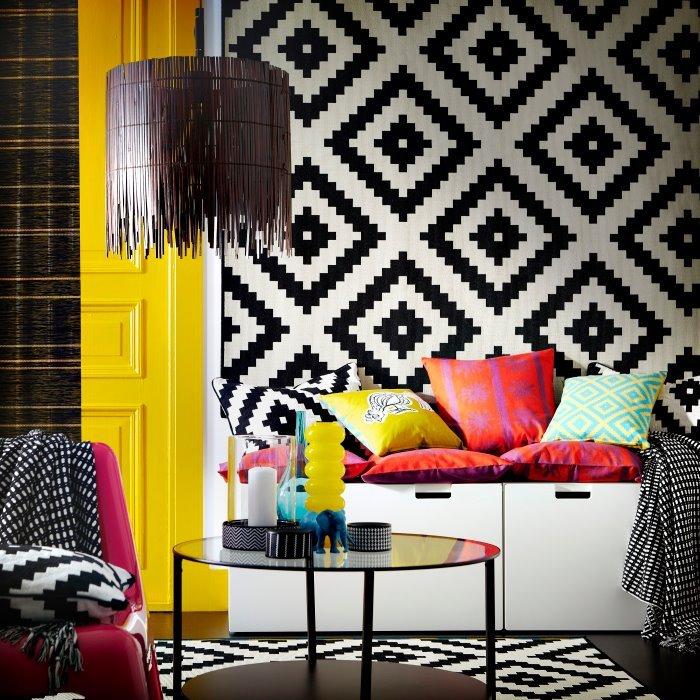 Фотография: Гостиная в стиле Эклектика, Декор интерьера, Декор дома, Цвет в интерьере, IKEA, Зеленый, Желтый – фото на InMyRoom.ru