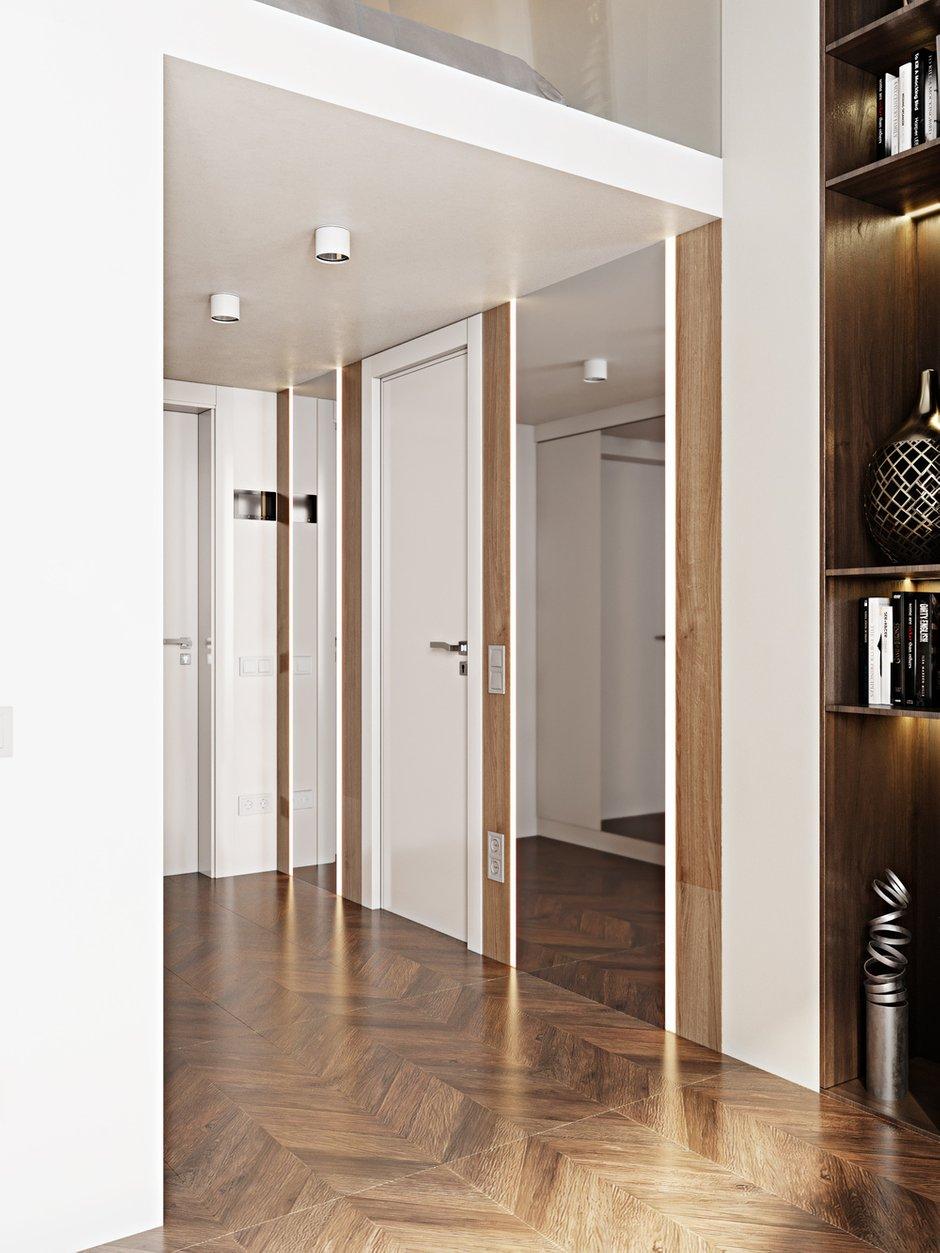 Шкафы встроены в ниши и оформлены зеркалами. Места для консоли или тумбы, увы, не хватило.
