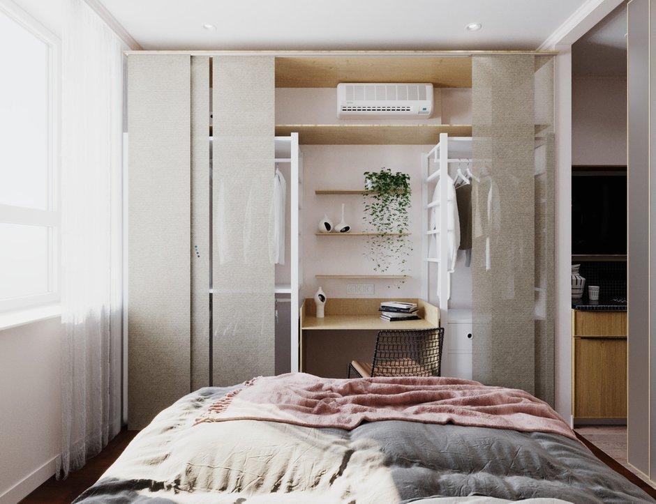 Фотография: Спальня в стиле Современный, Малогабаритная квартира, Квартира, Студия, Проект недели, Москва, Виктория Золина, Zi-Design Interiors, Монолитный дом, 1 комната, до 40 метров – фото на INMYROOM