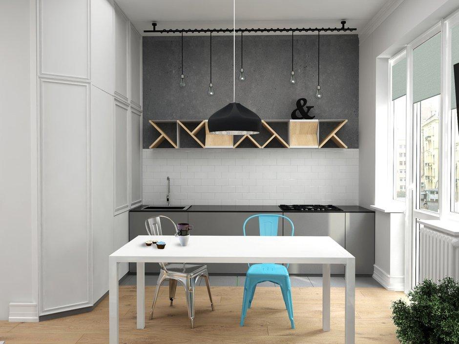 Фотография: Кухня и столовая в стиле Лофт, Скандинавский, Квартира, Белый, Проект недели, Синий – фото на INMYROOM