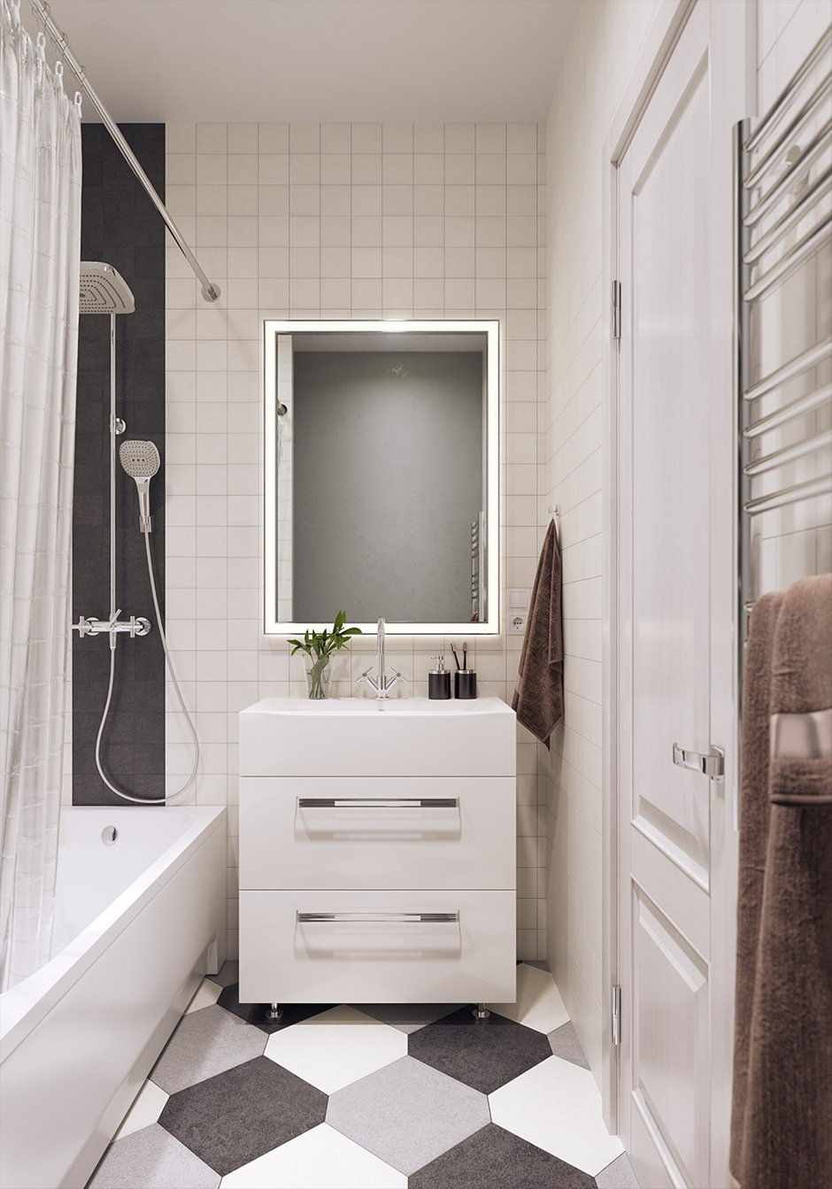 Фотография: Ванная в стиле Скандинавский, Квартира, Проект недели, Смоленск, Кирпичный дом, 1 комната, 40-60 метров, Анна Багрова – фото на INMYROOM