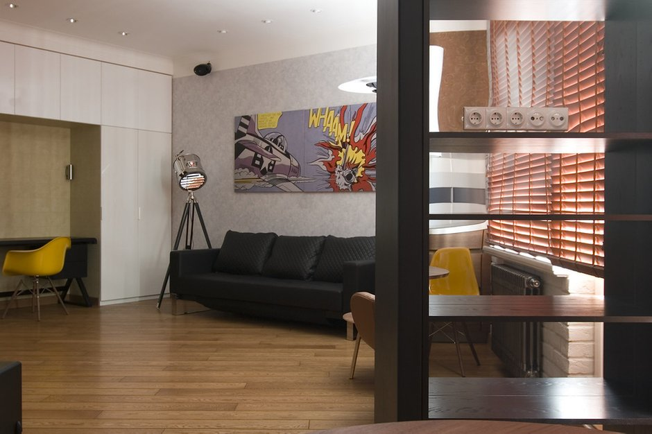 Фотография: Гостиная в стиле Современный, Лофт, Малогабаритная квартира, Квартира, Дома и квартиры, Проект недели – фото на INMYROOM