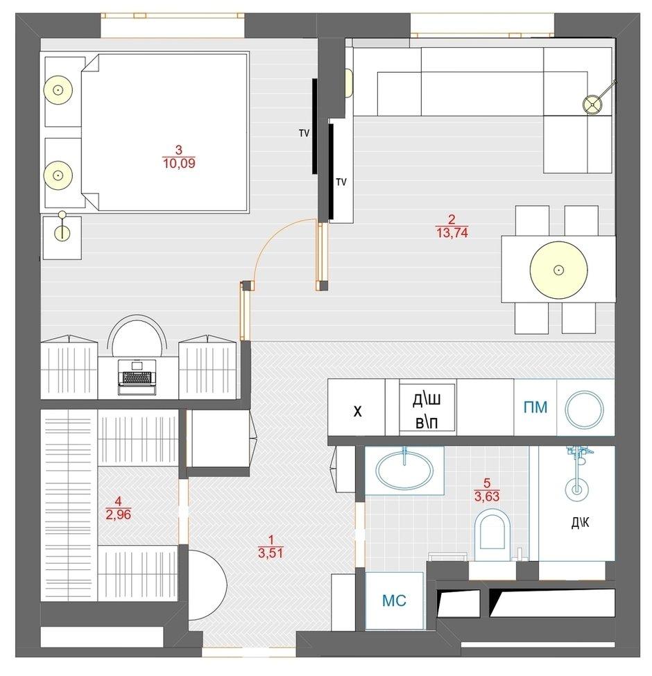 Фотография: Планировки в стиле , Современный, Малогабаритная квартира, Квартира, Проект недели, Москва, 1 комната, до 40 метров, Своя атмосфера – фото на INMYROOM