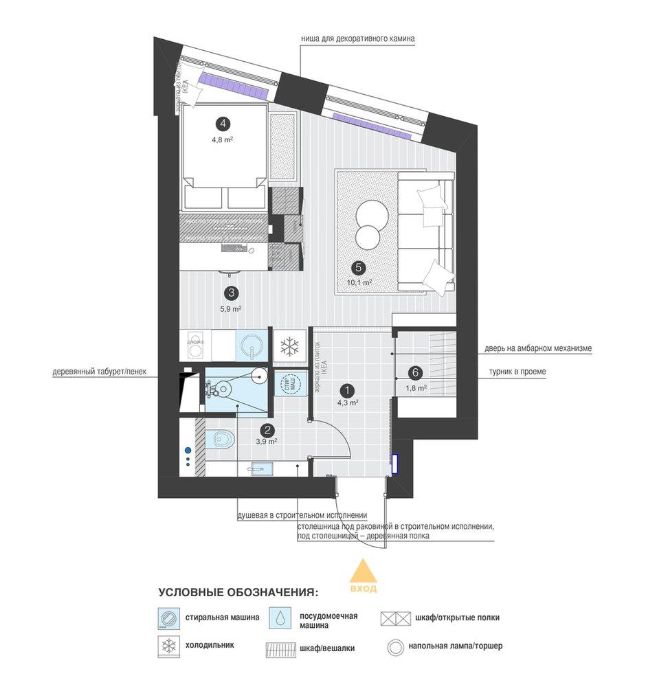 Фотография: Планировки в стиле , Квартира, Проект недели, Московская область, 1 комната, до 40 метров, Ира Носова – фото на INMYROOM