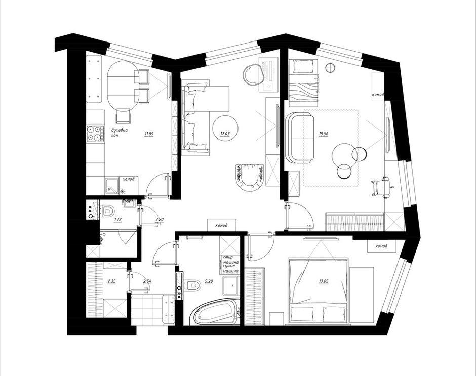 Фотография: Планировки в стиле , Квартира, Перепланировка, Никита Зуб, Монолитный дом, 3 комнаты, 60-90 метров, Москав, планировочная среда – фото на InMyRoom.ru