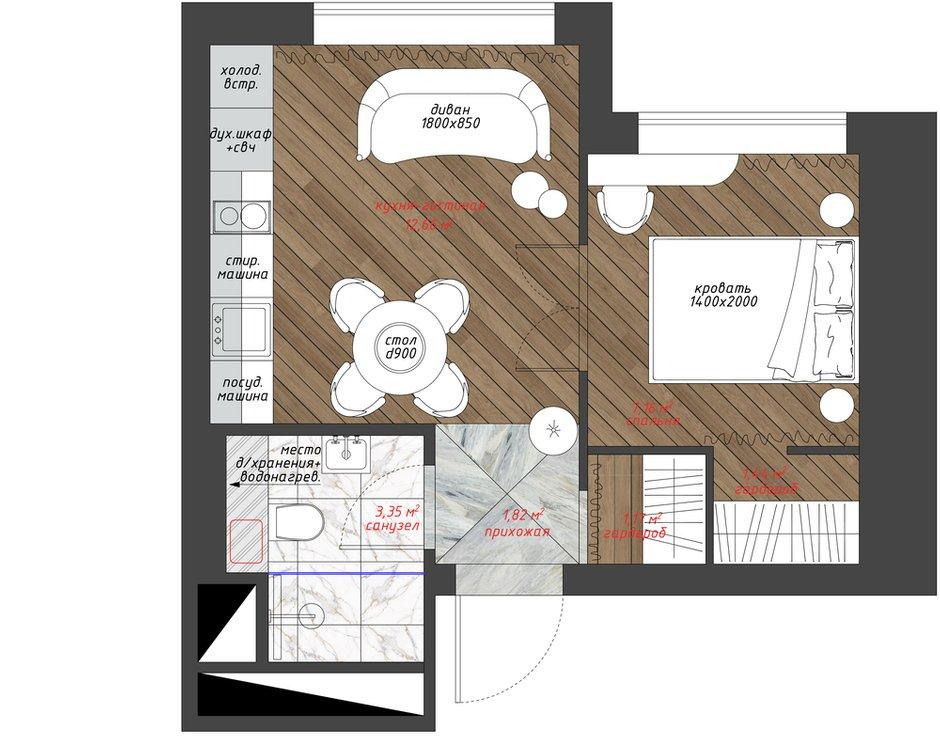 Фотография: Планировки в стиле , Малогабаритная квартира, Квартира, Проект недели, Санкт-Петербург, Сталинка, 1 комната, до 40 метров, АРИНА ТРОИЛОВА – фото на INMYROOM