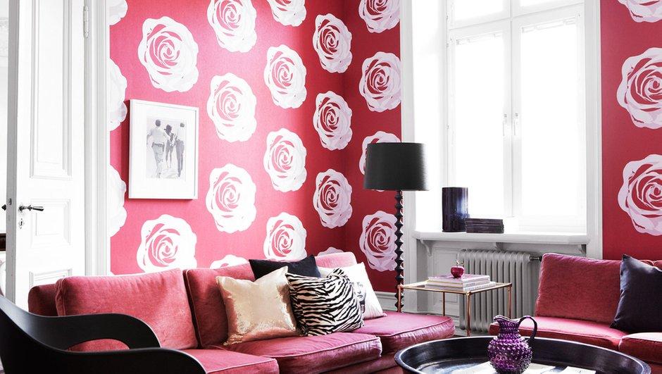 Фотография: Гостиная в стиле Современный, Эклектика, Декор интерьера, Дизайн интерьера, Цвет в интерьере, Обои, Стены, Эко – фото на INMYROOM