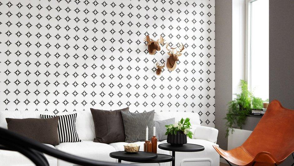 Фотография: Гостиная в стиле Современный, Эклектика, Декор интерьера, Дизайн интерьера, Цвет в интерьере, Обои, Стены, Эко – фото на InMyRoom.ru