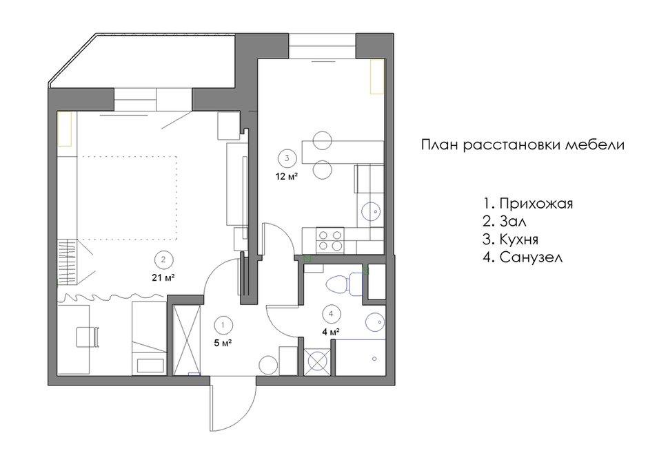 Фотография: Планировки в стиле , Квартира, Минимализм, Проект недели, Эко, Московская область, Марина Козлова, новостройка, Монолитный дом, 1 комната, 40-60 метров – фото на INMYROOM