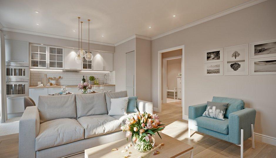 Фотография: Гостиная в стиле Современный, Квартира, Проект недели, Co:Interior, Монолитный дом, 2 комнаты, 60-90 метров, Южно-Сахалинск – фото на INMYROOM