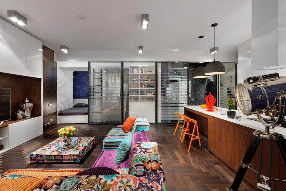 Фотография: Гостиная в стиле , Малогабаритная квартира, Квартира, Дома и квартиры, Перепланировка – фото на INMYROOM