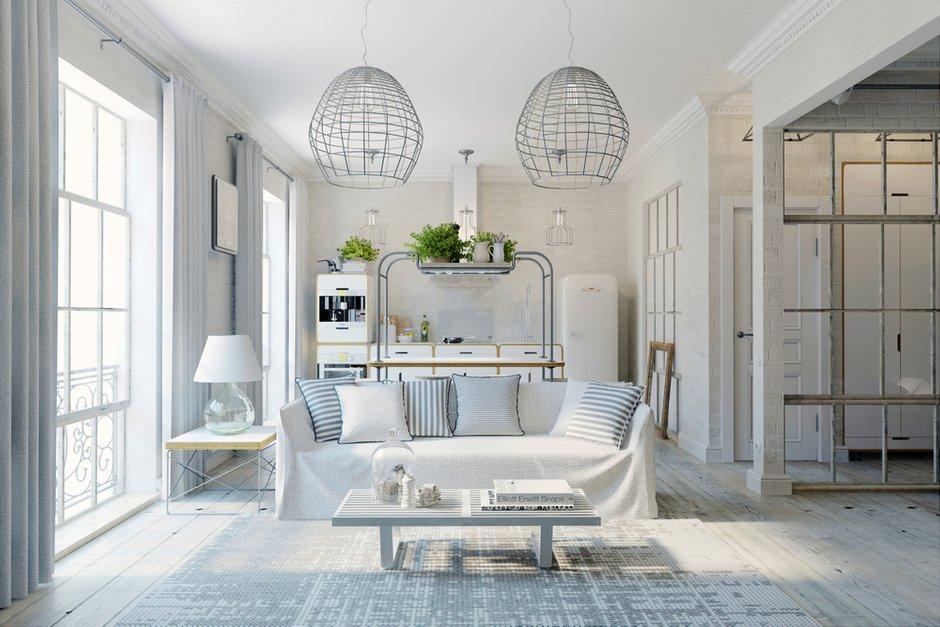 Фотография: Гостиная в стиле Лофт, Квартира, Цвет в интерьере, Дома и квартиры, Белый – фото на InMyRoom.ru