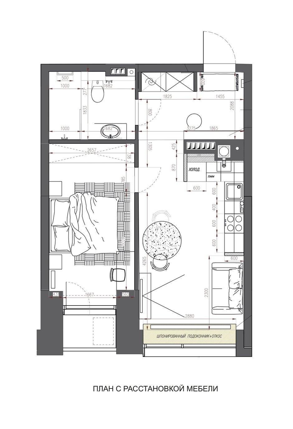 Фотография: Планировки в стиле , Современный, Квартира, Проект недели, Москва, 1 комната, 40-60 метров, Аделина Шарапова – фото на INMYROOM