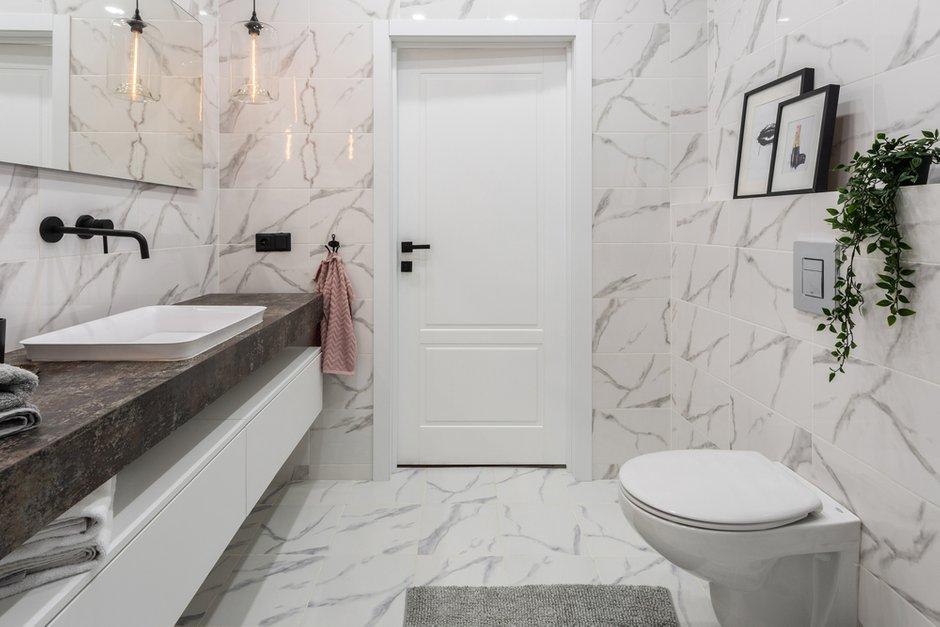 Фотография: Ванная в стиле Современный, Квартира, Проект недели, Москва, Samsung, 2 комнаты, 60-90 метров, Монолитно-кирпичный, the serif – фото на INMYROOM