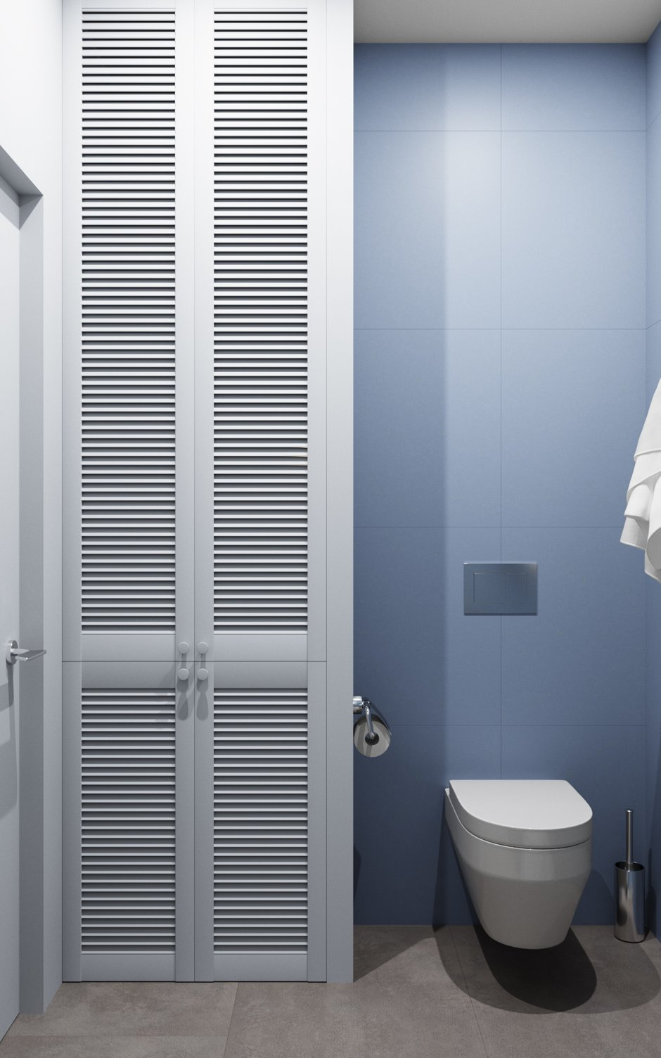 Фотография: Ванная в стиле Минимализм, Современный, Квартира, Студия, Белый, Проект недели, Серый, Голубой, до 40 метров, ПРЕМИЯ INMYROOM, Олеся Еранцева – фото на INMYROOM