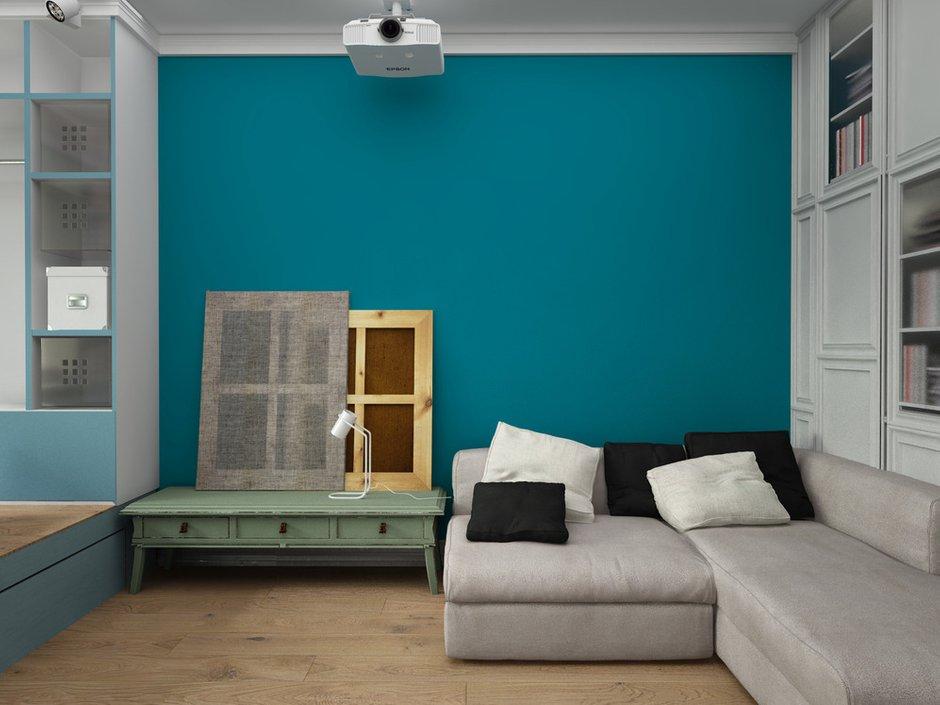 Фотография: Гостиная в стиле Лофт, Скандинавский, Квартира, Белый, Проект недели, Синий – фото на INMYROOM