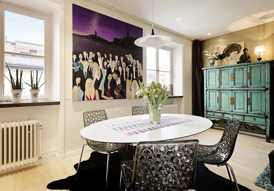 Фотография: Гостиная в стиле Эклектика, Малогабаритная квартира, Квартира, Швеция, Дома и квартиры – фото на INMYROOM