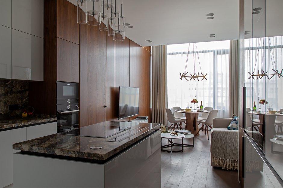 Фотография: Кухня и столовая в стиле Минимализм, Квартира, Проект недели, Москва, Филипп Киценко, 3 комнаты, Более 90 метров, ПРЕМИЯ INMYROOM – фото на INMYROOM