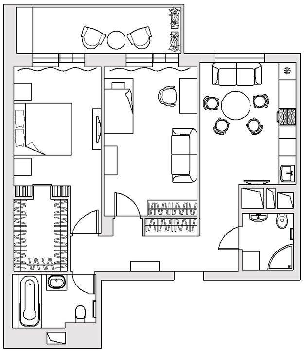 Фотография: Планировки в стиле , Балкон, Интерьер комнат – фото на INMYROOM