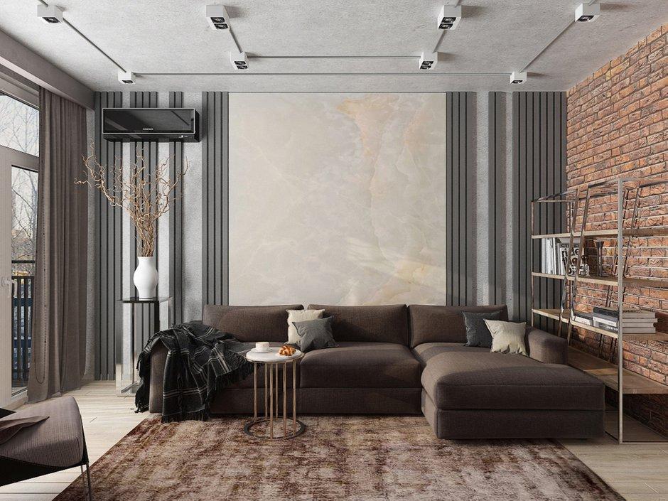 Фотография: Гостиная в стиле Лофт, Квартира, Проект недели, Евгения Ермолаева, EEDS, 2 комнаты, 60-90 метров, Монолитно-кирпичный, ЖК Квартал 9/18 – фото на INMYROOM