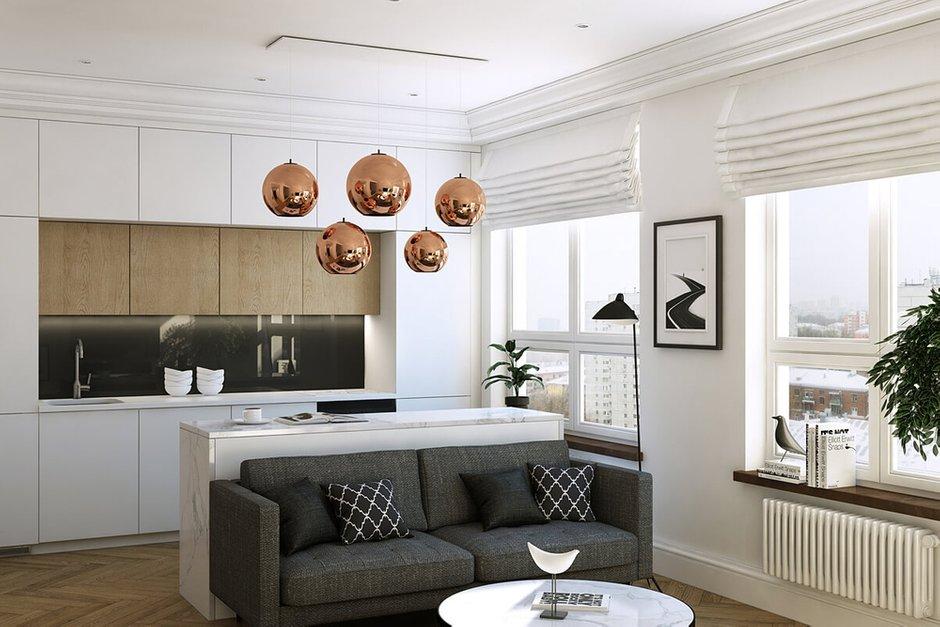 Фотография: Гостиная в стиле Современный, Квартира, Проект недели, Geometrium, ЖК «Филиград» – фото на INMYROOM