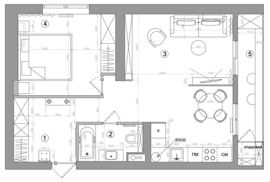 Фотография: Планировки в стиле , Современный, Квартира, Проект недели, Москва, 2 комнаты, 40-60 метров, Анна Моджаро – фото на INMYROOM
