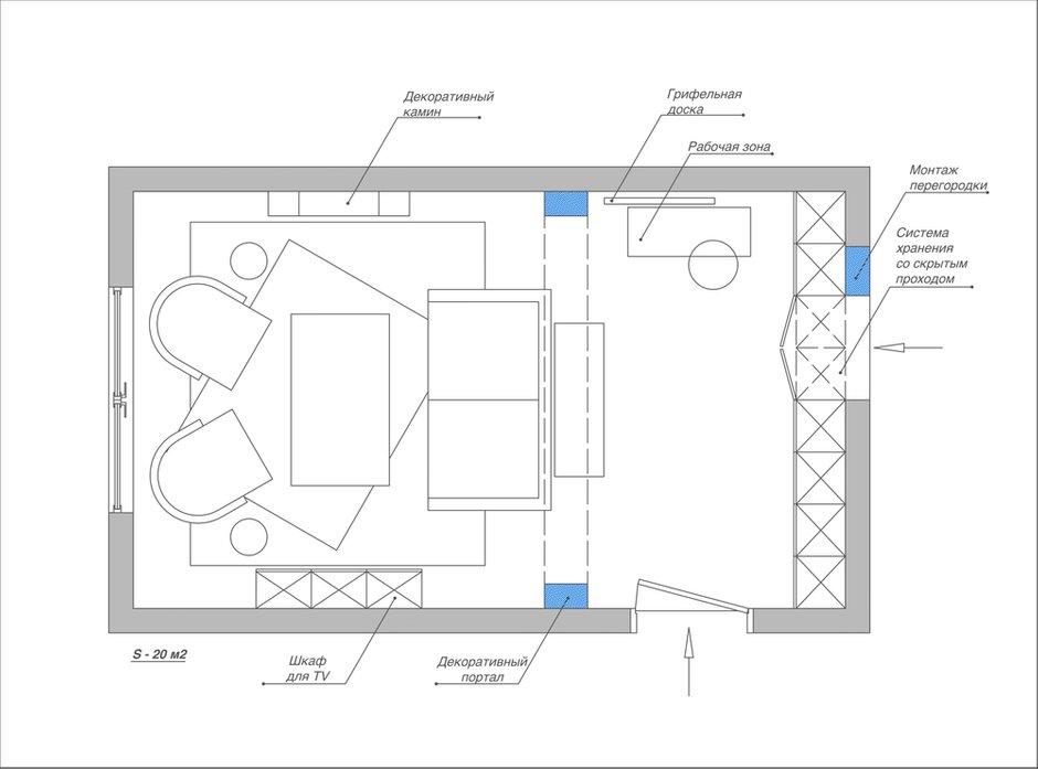 Фотография: Планировки в стиле , Гостиная, Квартира, Проект недели, П44т, Елена Ожогина – фото на INMYROOM