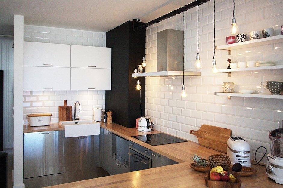 Фотография: Кухня и столовая в стиле Лофт, Скандинавский, Квартира, Цвет в интерьере, Дома и квартиры, Перепланировка – фото на INMYROOM