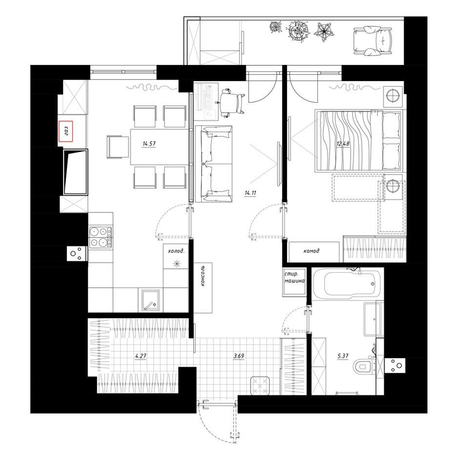 Фотография: Планировки в стиле , Квартира, Перепланировка, Никита Зуб, 1 комната, 40-60 метров, планировочная среда, Иваново – фото на INMYROOM