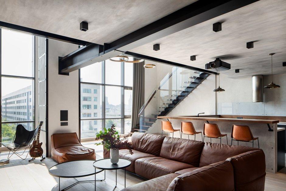 Фотография: Гостиная в стиле Современный, Лофт, Квартира, Проект недели, Москва, GM-Interior, 3 комнаты, Более 90 метров – фото на INMYROOM