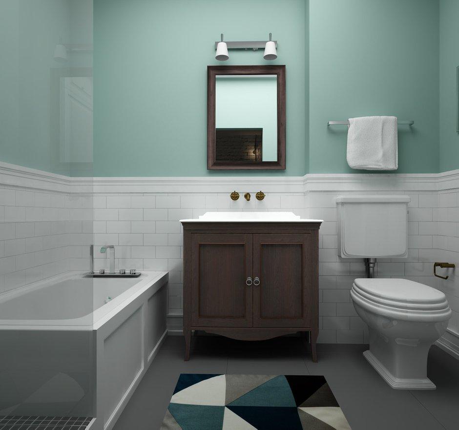 Фотография: Ванная в стиле Скандинавский, Квартира, Белый, Проект недели, Синий – фото на INMYROOM