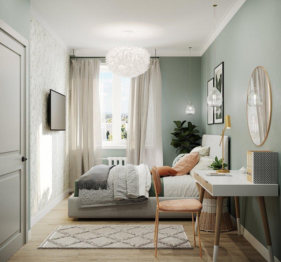 Фотография: Спальня в стиле Скандинавский, Кухня и столовая, Ванная, Квартира, Проект недели, Зеленый, Желтый, Серый, 1 комната, до 40 метров, ПРЕМИЯ INMYROOM – фото на INMYROOM