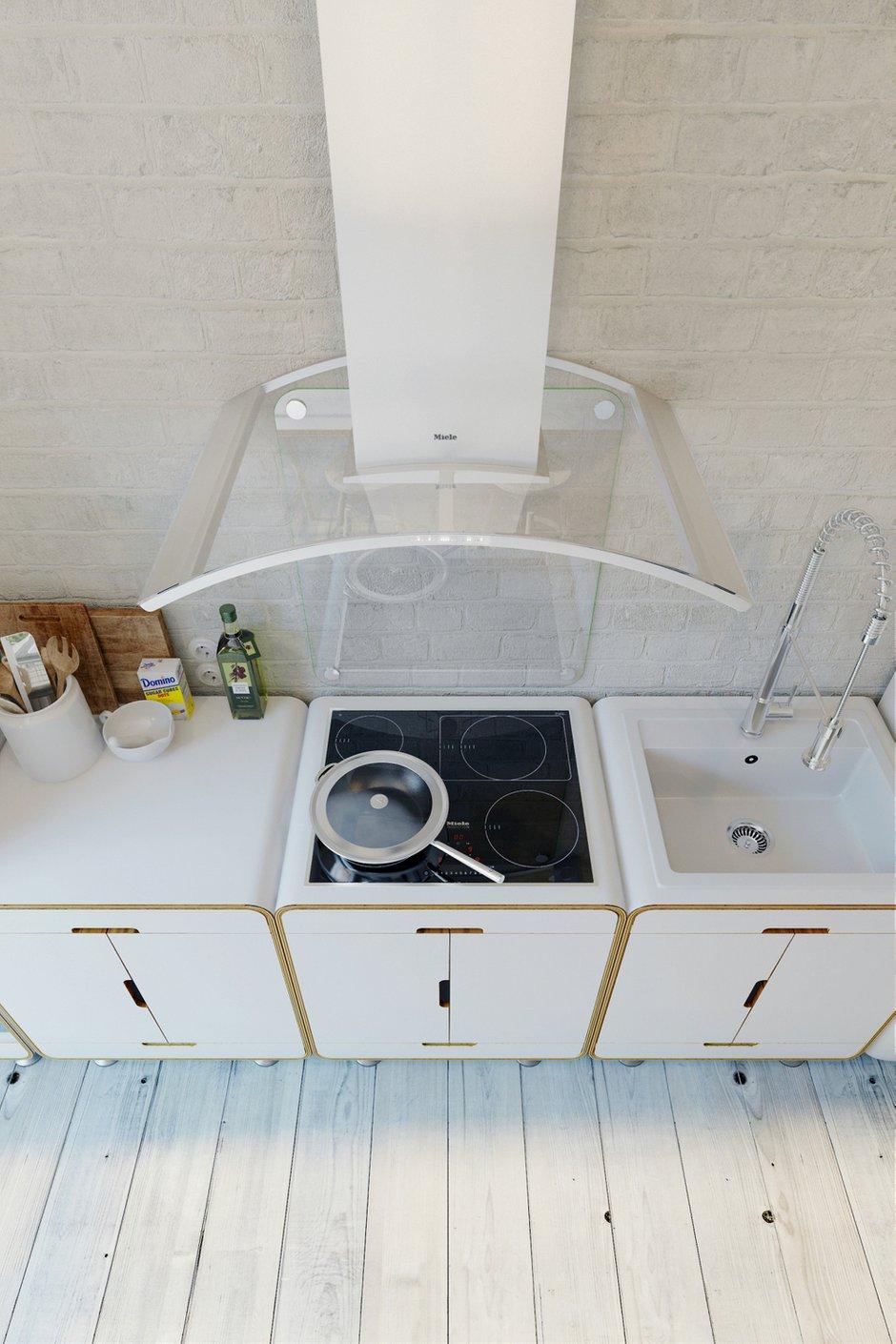 Фотография: Кухня и столовая в стиле Лофт, Квартира, Цвет в интерьере, Дома и квартиры, Белый – фото на INMYROOM