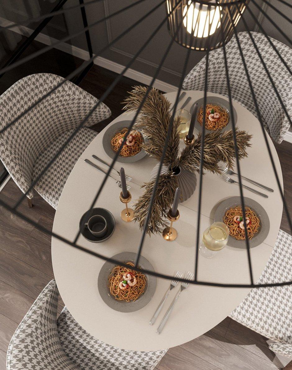 Фотография: Кухня и столовая в стиле Современный, Эклектика, Квартира, Белый, Проект недели, Синий, Коричневый, 1 комната, 40-60 метров, Tabooret – фото на INMYROOM