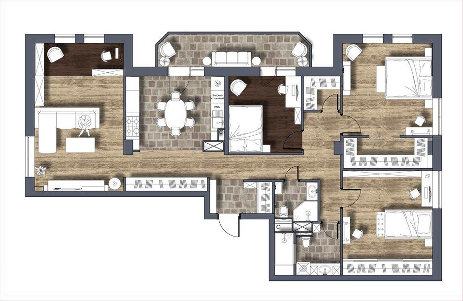 Фотография: Планировки в стиле , Восточный, Эклектика, Квартира, Проект недели, Москва, 4 и больше, Более 90 метров, Бюро IVA – фото на INMYROOM