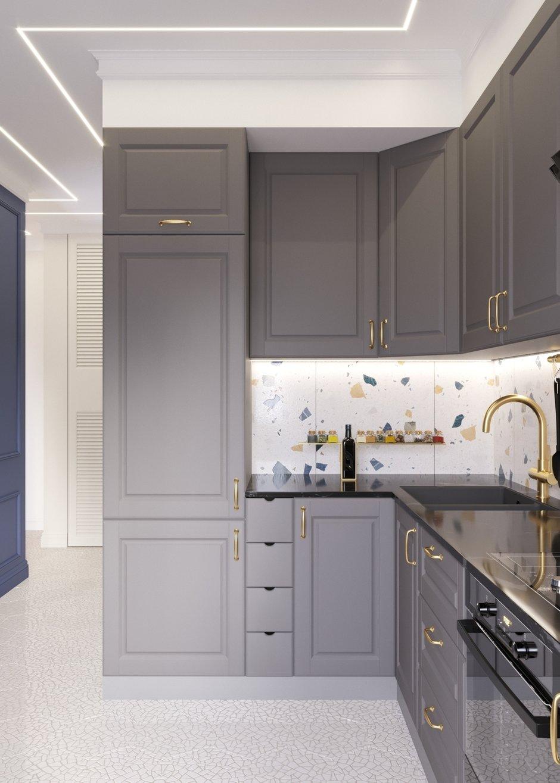 Фотография: Кухня и столовая в стиле Современный, Гостиная, Классический, Квартира, Планировки, Декор, Проект недели, Синий, Серый, Розовый, Голубой, 2 комнаты, 40-60 метров – фото на INMYROOM