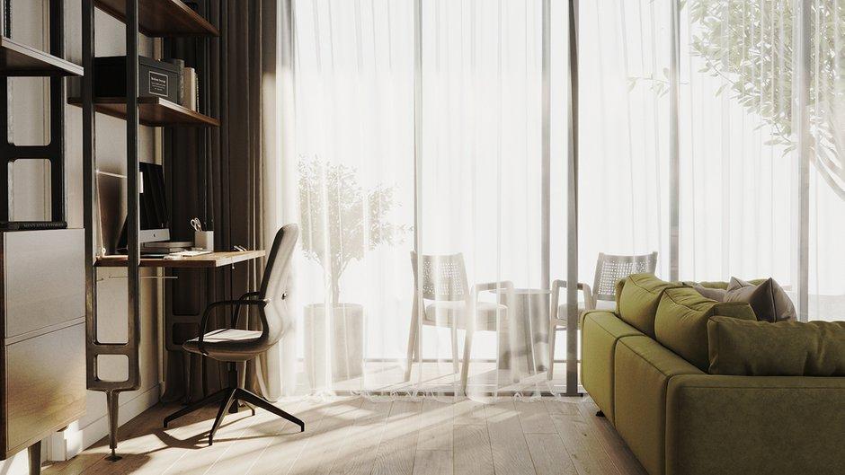 Раздвижные двери в пол объединяют пространство гостиной и лоджии.