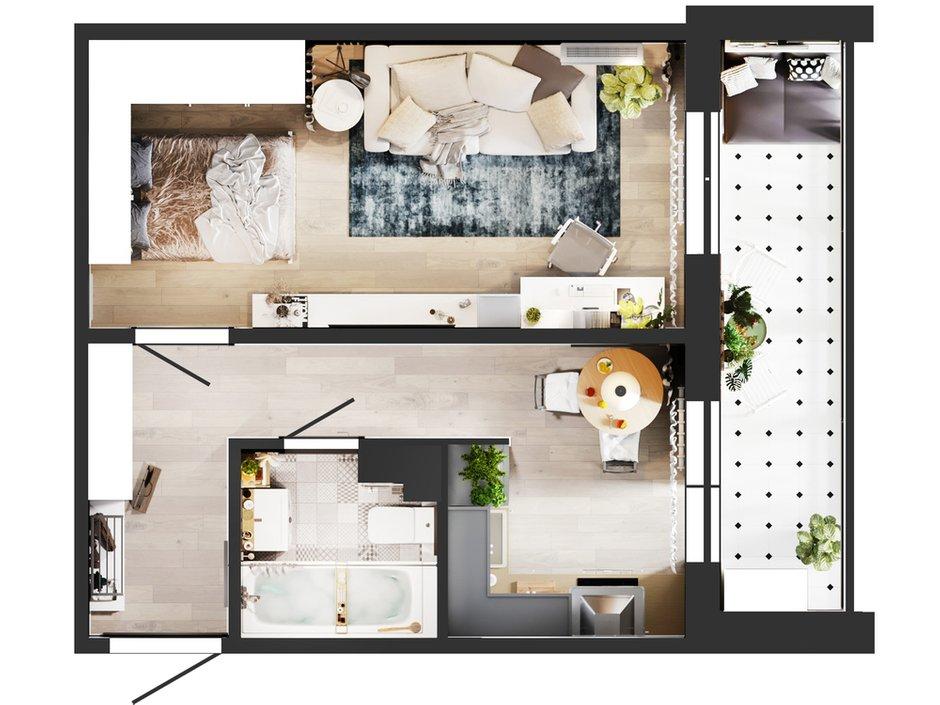 Фотография: Планировки в стиле , Кухня и столовая, Ванная, Гостиная, Балкон, Квартира, Белый, Проект недели, Бежевый, Серый, 1 комната, до 40 метров, ПРЕМИЯ INMYROOM – фото на INMYROOM