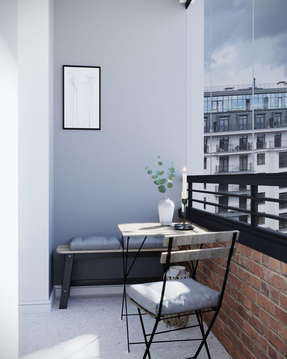 Фотография: Балкон в стиле Скандинавский, Квартира, Проект недели, Санкт-Петербург, 1 комната, 40-60 метров, Монолитно-кирпичный, Студия 20:18 – фото на INMYROOM
