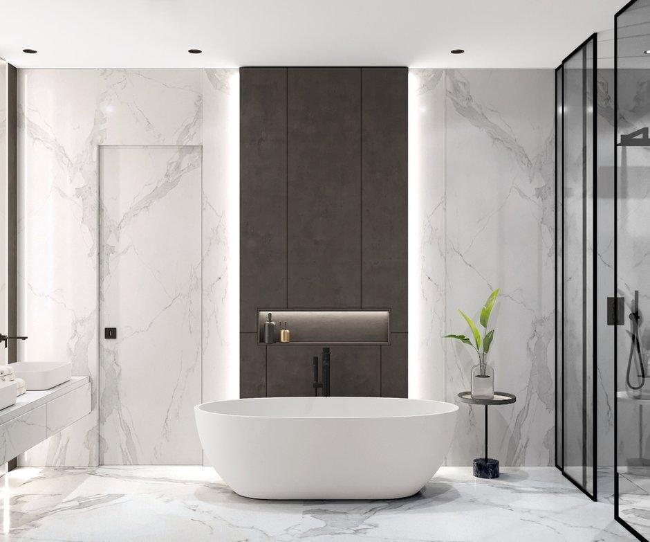 Фотография: Ванная в стиле Современный, Квартира, Miele, Проект недели, Москва, Quadro room, 4 и больше, Более 90 метров – фото на INMYROOM