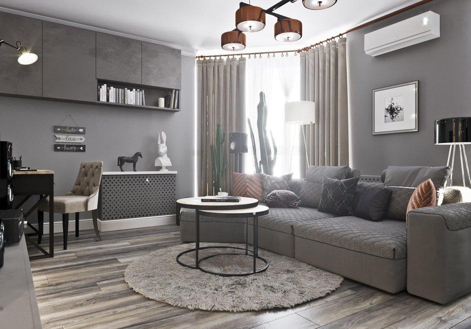 Фотография: Гостиная в стиле Современный, Квартира, Проект недели, Новосибирск, студия Mango, Монолитный дом, 3 комнаты, Более 90 метров – фото на INMYROOM