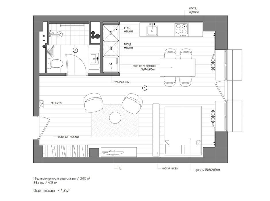 Фотография: Планировки в стиле , Лофт, Квартира, Студия, Проект недели, Москва, Кирпичный дом, до 40 метров, INT2architecture – фото на INMYROOM