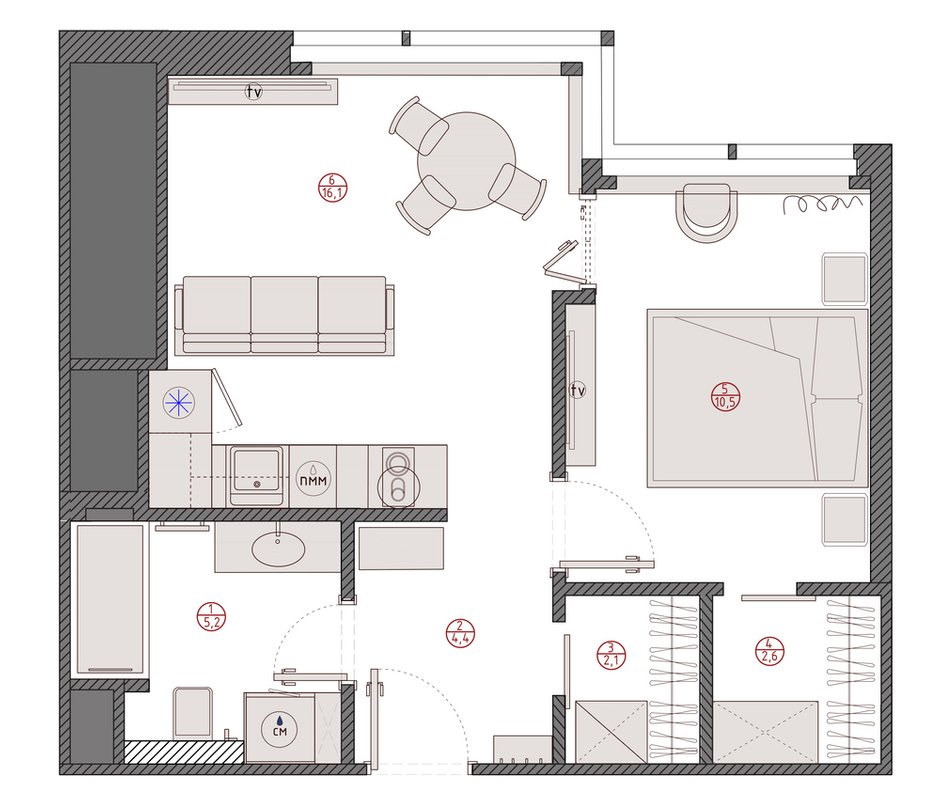 Фотография: Планировки в стиле , Современный, Квартира, Минимализм, Проект недели, Москва, Buro Brainstorm, 1 комната, до 40 метров, 40-60 метров – фото на INMYROOM