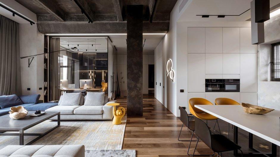 Фотография: Гостиная в стиле Лофт, Квартира, Проект недели, Москва, 3 комнаты, Более 90 метров – фото на INMYROOM