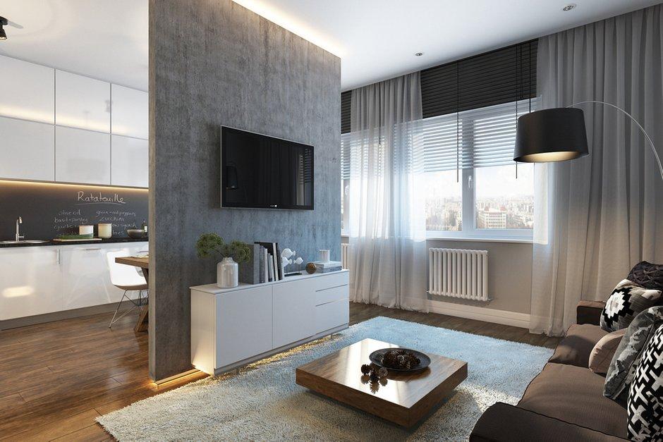 Фотография: Кухня и столовая в стиле Современный, Квартира, Проект недели, Москва, Желтый, Серый, Инна Усубян, Как создать интерьер для пары, как оформить студию для пары, дизайн квартиры для пары – фото на INMYROOM