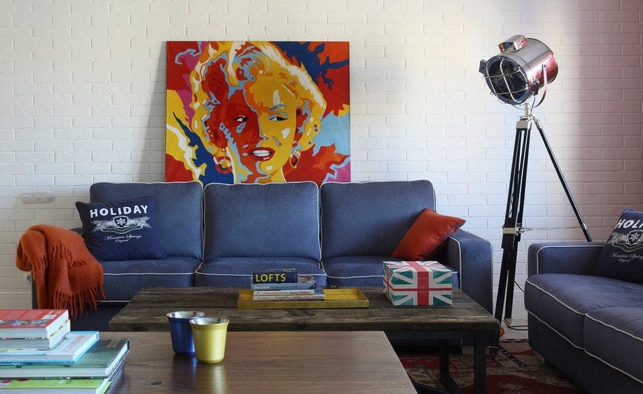 Фотография: Гостиная в стиле Лофт, Эклектика, Квартира, Проект недели – фото на INMYROOM