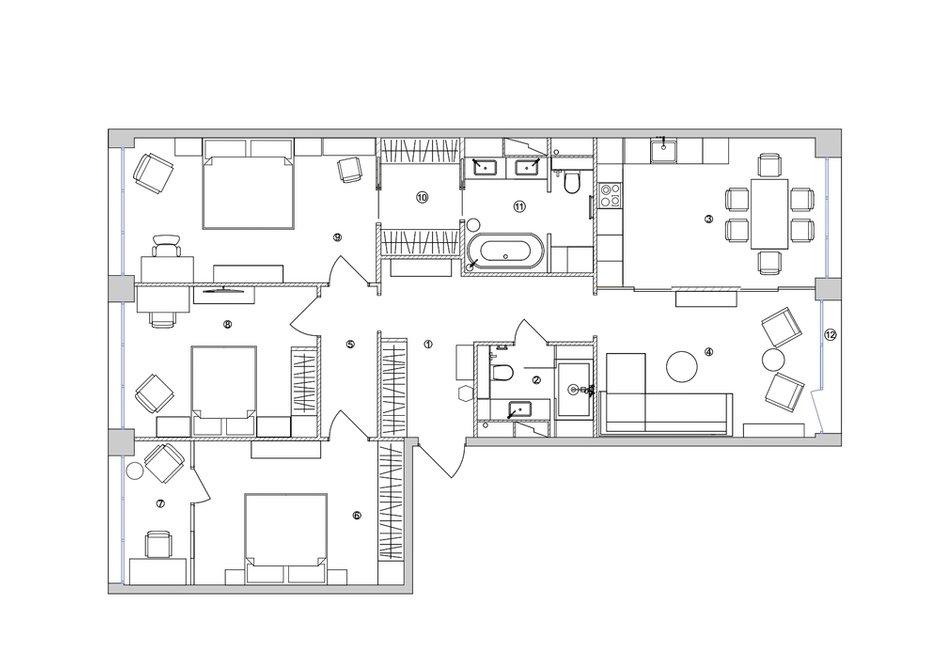 Фотография: Планировки в стиле , Современный, Квартира, Проект недели, Москва, 4 и больше, Более 90 метров, Диана Бганова – фото на INMYROOM