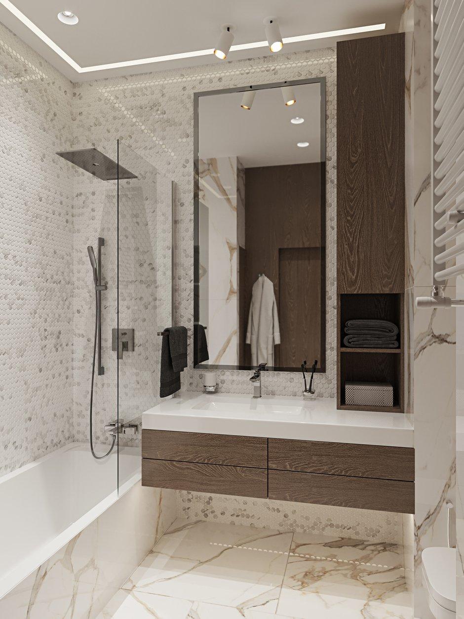 Фотография: Ванная в стиле Современный, Квартира, Проект недели, Москва, 3 комнаты, Более 90 метров, L. DesignStudio, Анна Лях – фото на INMYROOM