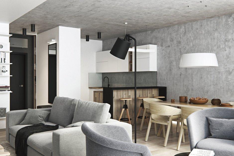 Фотография: Гостиная в стиле Современный, Квартира, Проект недели, Москва, Geometrium, Монолитный дом, 3 комнаты, Более 90 метров, ЖК «Лайнер» – фото на INMYROOM